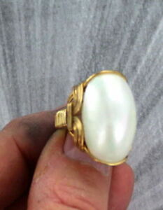 Biwa Gemstone Pearl Ring in 14kt. Rolled Gold  Wire Wrapped