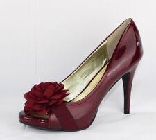 Carlos Santana women's Cupcake heels burgundy red flower open toe size 9.5