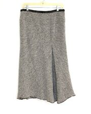 Philippe Adec Paris - 6 (S) - B&W Tweed Asymmetrical Pleated Wool A-Line Skirt