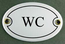 """Emaille Türschild """"WC"""" weiß oval 7x10 cm Schild Emailleschild Metallschild"""