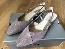 BRAND NEW GABOR ladies low heel slingbacks in pink metallic leather UK 6/39