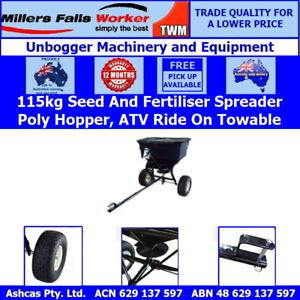 Millers Falls TWM Rotary Seed Fertiliser Spreader 115kg Capacity Tow Behind ATV