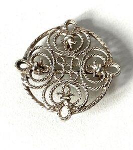 Vintage Scottish Designer Ola Gorie Solid Sterling Silver Celtic Iona Brooch