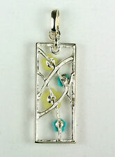 New 925 Sterling Silver Turquoise Agate Flower Pendant Handcrafted For Jewelry