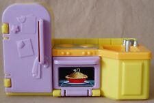 My First Dollhouse KITCHEN Refrigerator Sink Oven Fisher Price Blue/Yellow EUC