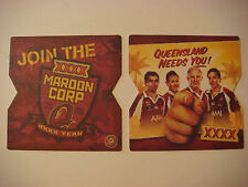 AUSTRALIA Beer Bar Coaster ~*~ Join the XXXX Maroon Corp ~ Queensland Needs You