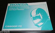 Uso E Manutenzione Instruktieboek Honda CB 600 F /II Manual Del Propietario 1999
