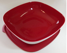 Tupperware Chic Essentials Collection 10.5 cups Square Bowl & Seal Red Award New