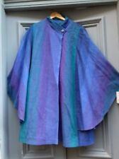 AVOCA Pure New Wool Irish purple green batwing cape Wicklow Small vg-xllnt