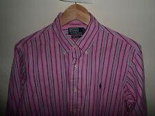 "VGC* RALPH LAUREN Polo Custom Fit Stripe Long Sleeve Shirt Size MEDIUM M 15.5"""
