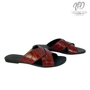 Vagabond Tia Women's Sandals Dark Red Cross Strap Embossed Croc Size 3 Uk