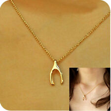 Gold Wishbone Necklace Dainty 14k Plated Charm New Good Luck Charm Jewelry