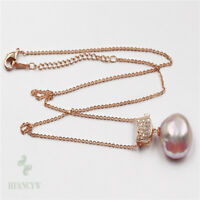 """15-16mm pink baroque pearl pendant 18k necklace 18"""" flawless AAA fashion"""