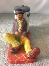 Vintage The Emmitt Kelly Jr Collection Flambro Ceramic Clown Resting On A Can