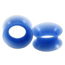 "PAIR-Flexi Thin Pearl Blue Medium Double Flare Silicone Ear Tunnels 12mm/1/2"" Ga"