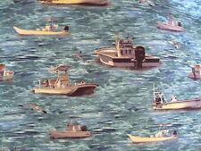 Cotton Material - Fishing Boats - 55 x 50 cm - Fat Quarter