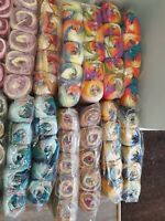 AMAZING COLOURS! CAKE ROLLS KNITTING CROCHET WOOL BALLS. 5 X 100g YARN