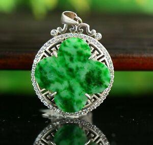 Cert'd Untreated Green Nature Grade A Jadeite Jade Pendant Clover a43245251
