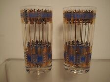 Signed Georges Briard Drinking Glasses Blue Gold Tumblers Highball Vintage Mcm