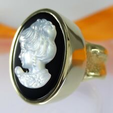 A718 Unikat Damen Portrait Kamee Gemme Ring 925 Silber Schmuck verg. Handarbeit