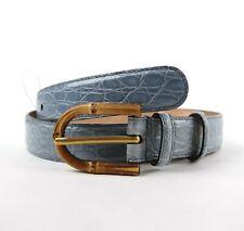 Gucci Light Blue Crocodile Leather Belt w/Bamboo Spur Buckle 95/38 312405 4711