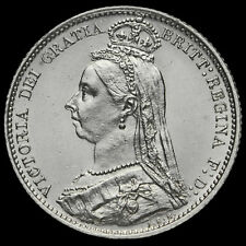 1887 Queen Victoria Jubilee Head Silver Sixpence, Withdrawn Type, G/EF