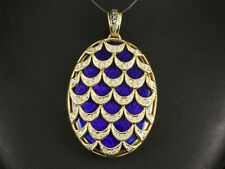 Faberge großes Brillant Medaillon ca. 0,68ct blaues Email  35,6g 750/- Gelbgold