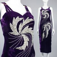 S/M Vintage 1970s Purple Velvet Cocktail Dress Sequin Beaded Party Prom 70s