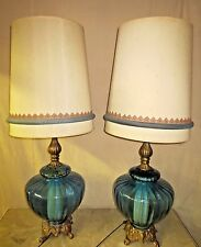 PAIR BLUE VINTAGE MID-CENTURY RETRO 1972 EF EF INDUSTRIES LAMPS & DRUM SHADES