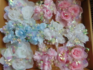 """ARTIFICIAL FLOWER CANDLE RINGS 1.25"""" 2.5cm WHITE & MOTHER OF PEARL FLOWERS BEADS"""