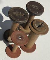 4 Wooden spools industrial Sewing Weaving Textile Spools primitive wood spools