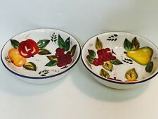 "Vintage Oneida Fruit Round Serving Bowl Hand Painted, 9-1/4"" Diameter, Set of 2"
