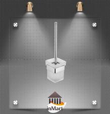 MIIKe64 Toilet Brush Chrome Handle Glass Holder Bathroom Toilet Brass Bracket
