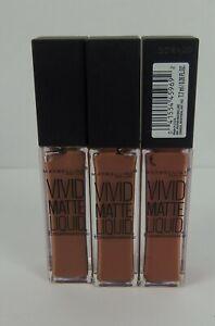 Maybelline LOT OF 3 Vivid Matte Liquid Lipstick #5 Nude Thrill