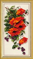 Floral Embroidery Pattern DIY Yarn Needlepoint Kit Poppies and Blackberry