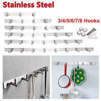 2-8 Hooks Stainless Steel Wall Hanger Towel Door Rack for Coat Robe Hat Clothes