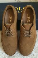 BNIB MENS POLO RALPH LAUREN TORRINGTON LEATHER SHOES IN BROWN SIZE UK 6 RRP £215