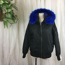 56ebec1f3750 BNCI by Blanc Noir $150 Faux Fur Trim Zip Bomber Jacket Black/Blue, Large
