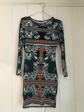 RIVER ISLAND Green Print Casual Long Sleeve Bodycon Stretch Dress SIZE 8