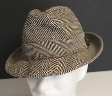 VINTAGE MEN'S HERRINGBONE FEDORA HAT BY DORFMAN PACIFIC COMPANY  1960'S