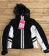 Superdry Women's Snow Puffer Ski Jacket -Black With White Trim -XL (BNWT)