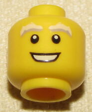 LEGO MINIFIGURE HEAD WHITE GREY BUSHY EYEBROWS WITH OPEN WHITE SMILE