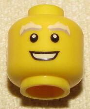 LEGO MINIFIGURE HEAD WHITE GREY BUSHY EYEBROWS WITH OPEN WHITE SMILE