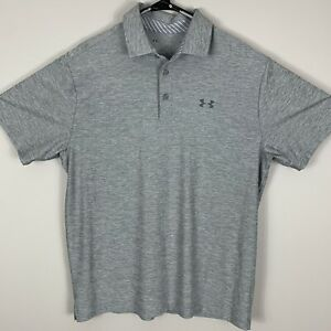 Under Armour Heather Gray Mens Polo Shirt Loose Heat Gear L