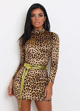 Sexy Womens Long Sleeve Leopard Print Bodycon Party Evening Cocktail Mini Dress