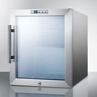 Glass Door Refrigerator With Digital Thermostat - Stainless Steel