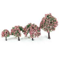 4 Peached Flower Model Trees Train Railway Street Diorama Scene Mixed Height