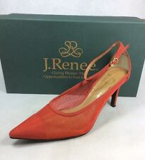 J.Renee Jena women shoes mesh/suede ankle strap red pointy toe elegant Sz. 9 N
