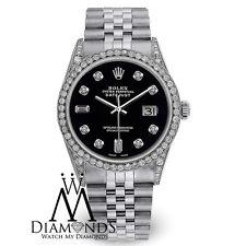 Rolex Datejust 36mm Diamante Negro Esfera Acero Inoxidable Reloj Automático
