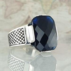 Solid 925 Sterling Silver Blue Sapphire Gemstone  Handmade Ottoman Size 10